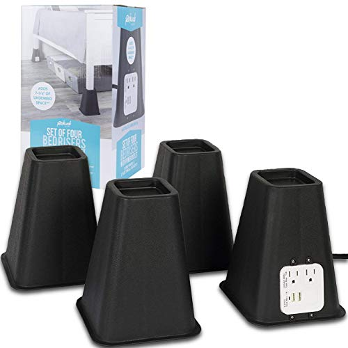 - Richard's Homewares Bed Risers with USB Ports and Outlets - 7.25 Inch Furniture Riser Bed Lifts, Heavy Duty Set of 4 Bed, Desk and Furniture Risers, Black.