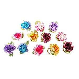 PET SHOW Flowers Pet Dog Hair Bows W/Rubber Bands Cat Puppy Grooming Accessories Assorted Color Pack of 20