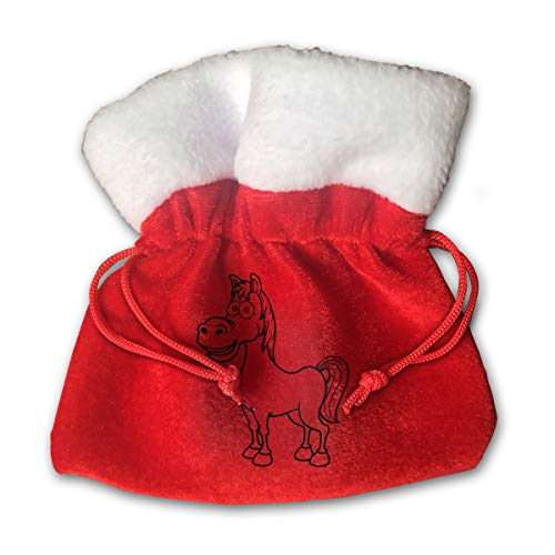 Personalized Santa Sack,Cute Kawaii Chibi Horse Portable Christmas Drawstring Gift Bag (Red)]()