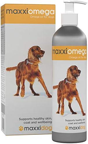 maxxidog – maxxiomega Omega Oil for Dogs with Omega 3, 6 and 9, Vitamins A, D, E and Biotin – Easy to Use Pump – Liquid 10 oz