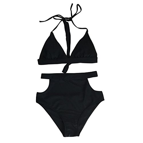 Anshinto Women Bikini Set, [2-Piece] Push-up Padded Bra [Solid] Swimsuit (Black, - 2piece Women Swimsuits For