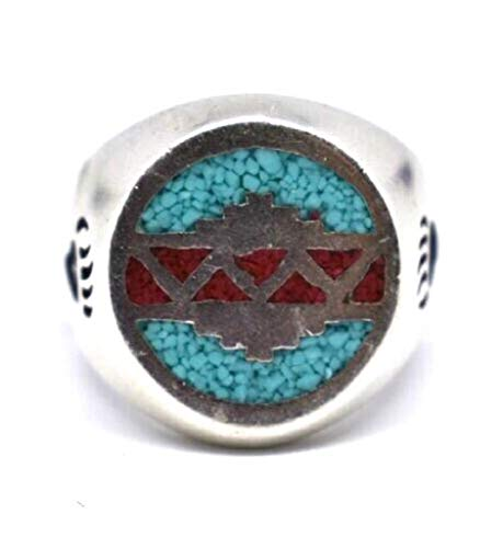Nemesis Jewelry NYC Vintage Southwestern Inlay Blue and Red Zuni Pattern Men's Ring from Nemesis Jewelry NYC