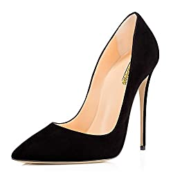 Modemoven Women's Black Suede Pointy Toe High Heels Slip On Stilettos Large Size Wedding Party Evening Pumps Shoes 6 M US