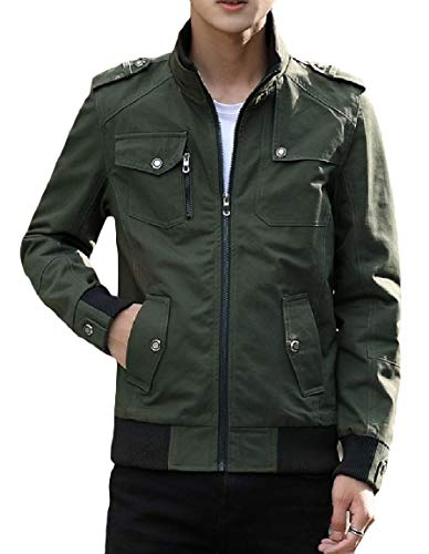 Stand Washed Pocket Green Plus Zip Mogogo Jacket Men's Outwear Cotton Army Leisure Size Collar Hwxn48n0
