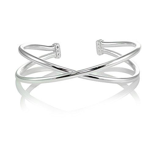 (Sterling Silver High Polished Criss Cross Cuff Bangle Bracelet)