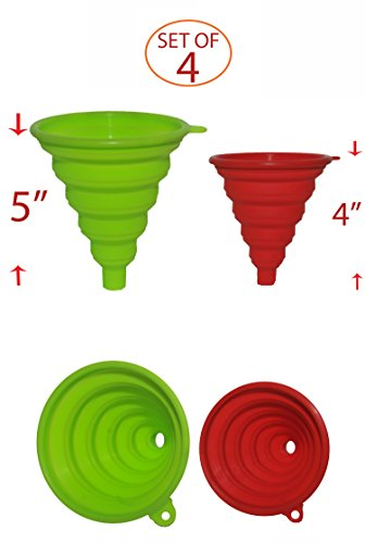 Silicone Collapsible Funnel for Liquid Transfer - High Grade Silicone Construction - BPA-Free- Hanging Hole For Optional Storage - Dishwasher Safe, (2 green, 2 red)