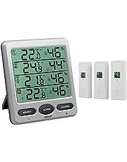 eSynic Termómetro Higrómetro Estación Meteorológica Inalámbrica Digital Termómetro de 8 Canales Higrómetro con 3 Sensores Remotos con Reloj Despertador Monitor de Humedad Interior para Oficina