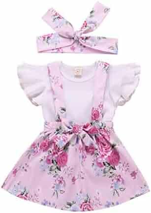 073364530c Kehen 3pcs Infant Toddler Baby Girls Summer Boho Ruffles Sleeve T-Shirt  with Strap Skirt