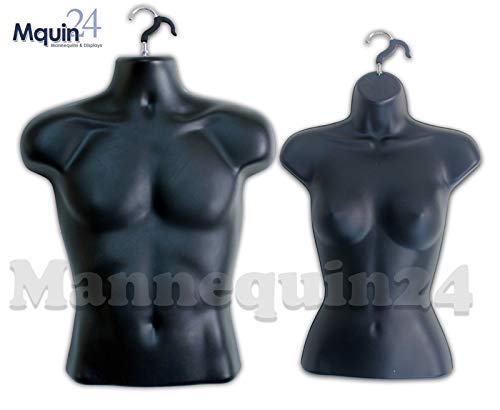 Torso Female + Male Body Mannequin Forms Set (Waist Long) For S-M Sizes - Black