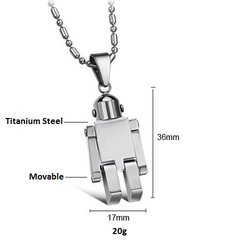 Brand New Men's Titanium Robot Pendant Necklace Fashion Korean Style in a Gift Box