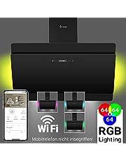 Cappa aspirante da cucina (90 cm, acciaio inox, vetro nero, 608m³/h, 4 passi, illuminazione LED RGBW, comando WIFI, tasti sensore TouchSelect) SOLO907SM - KKT KOLBE