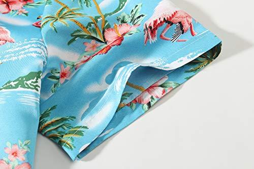 SSLR Men's Flamingos Casual Short Sleeve Aloha Hawaiian Shirt (Medium, Blue)