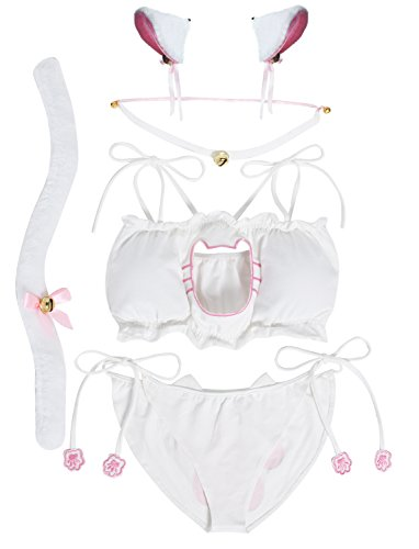 JustinCostume Women's Cosplay Lingerie Set Kitten Keyhole Cute Sexy Outfit (Medium, White2) -