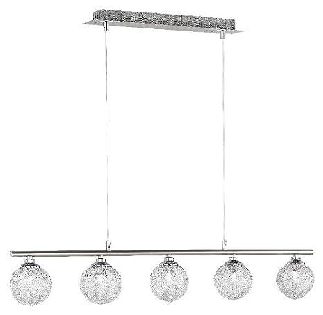 Paul Neuhaus 2790-55 - Lámpara de techo (5 bombillas de G9, 28 W), color acero