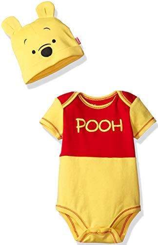 (Disney Boys' Winnie the Pooh Bodysuit with Cap Set, Yellow,)