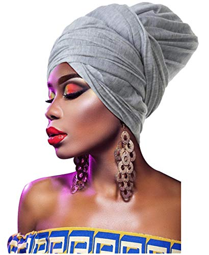 - L'VOW Women' Soft Stretch Headband Long Head Wrap Scarf Turban Tie (Light Grey)