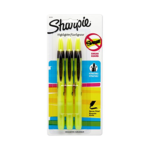Green Retractable Highlighter - Sharpie Accent Pen-Style Retractable Highlighter, Fluorescent Yellow (28124PP), 3 pack