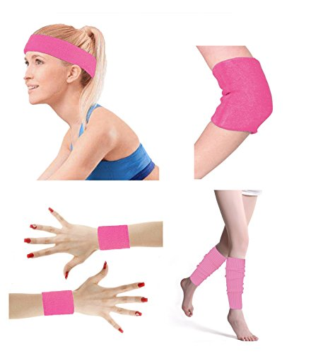 80's Retro Running Jogging Sports Headband Wristbands Leg Warmers Elbow Guard Set For Women Girls, Pink]()