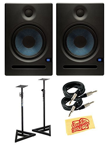 PreSonus Eris E8 130-Watt Nearfield Studio Monitor Bundle with Stands, Two Instrument Cables, and Polishing Cloth - Pair