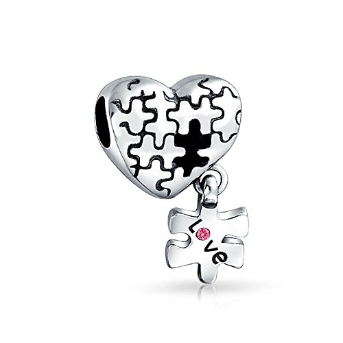 Autism Awareness Puzzle Piece Heart Love Charm Bead For Women For Teen 925 Sterling Silver Fits European Bracelet