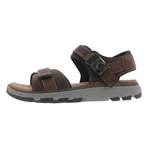 CLARKS Mens Un Trek Part Sandal, Dark Tan Leather, Size 10