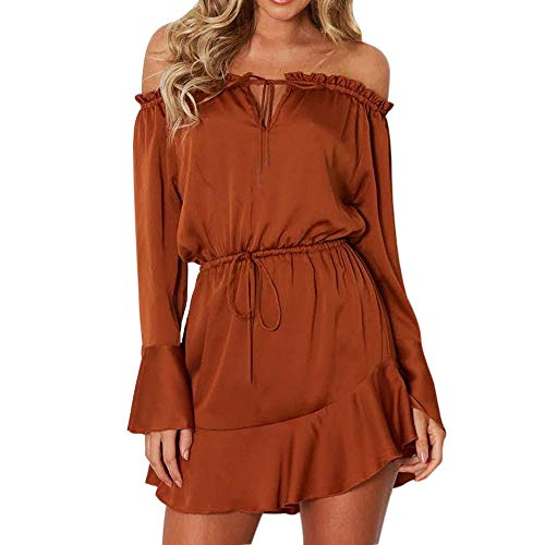 Sunhusing Women's Solid Color O-Neck Buttons Bundle Long Sleeve Dress Sexy Backless High Waist Mini Dress