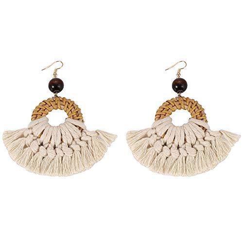 (BEST LADY Tassel Earrings for Women - Statement Handmade Dangle Fringe Earrings for Women, Idea Gift for Sister, Wife and Friends (White)