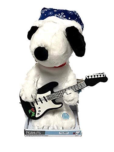 "Peanuts Singing Animated Snoopy Large 15"" Christmas Plush Toy Musical Music Box Collectible Plays ""Linus & Lucy"""