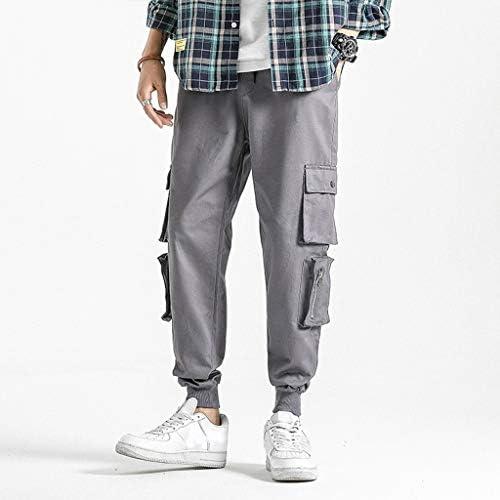 男性の新しいファッションカジュアルストレートオーバーオールポケットズボンドローストリングパンツ