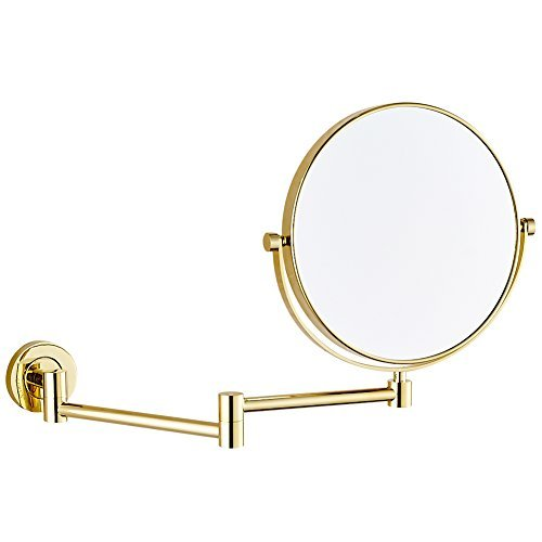 GURUN 8 Inch Two-Sided Swivel Wall Mounted Mirror Vanity Mirror with 10x Magnification,Gold Finish M1305J(8in,10x) by GURUN (Image #2)
