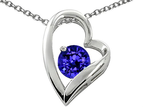 Star K 7mm Round Simulated Tanzanite Heart Shape Pendant Necklace Sterling Silver