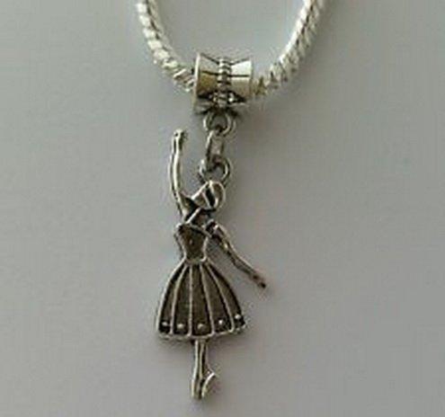 Beads Hut - Ballerina Ballet Dancer Dance Dangle Bead fits European Charm Bracelets Necklace