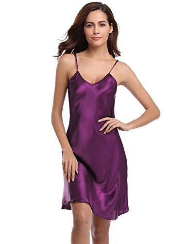 Aibrou Sexy Nightshirts Satin Spaghetti Strap Chemises Slip Nightgown Sleepwear Dark Purple