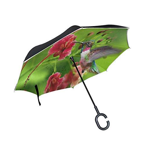 Reverse Umbrella Beija Flor Red Flower Inverted Umbrella Windproof Anti-UV