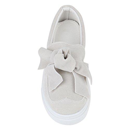 Stiefelparadies Damen Sneakers Slippers Sneaker Slip-Ons Metallic Strass Schuhe Fell Glitzer Lack Nieten Kroko Flats Flache Slipper Damneschuhe Flandell Hellgrau Schleifen
