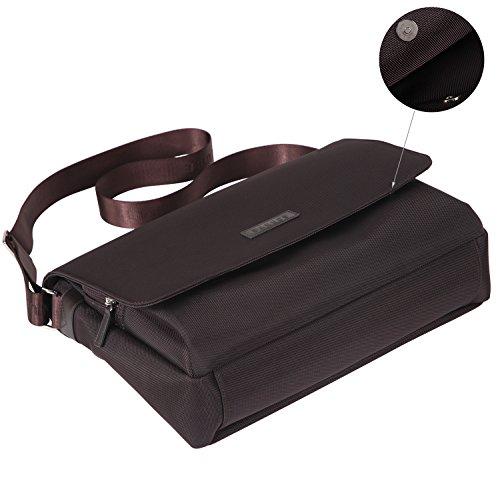 Banuce Umhängetasche Messenger Bag Herren Nylon Braun Business Aktenkoffer 14 Laptoptasche Aktentasche Dunkelbraun