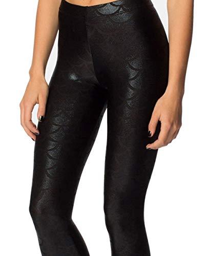 - Alaroo Women Soft Shine Night Club Mermaid Print Scale Leggings Black L