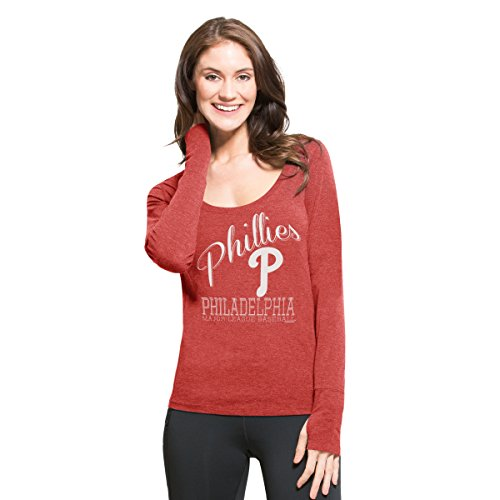 MLB Philadelphia Phillies Women's '47 Dash Long Sleeve Tee, Small, Shift (Philadelphia Phillies Womens Fashion)