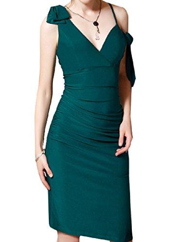 Dark Women Bowknot Cocktail Sexy Dress Short Split Green Coolred Bodycon ZUnqxvwqa