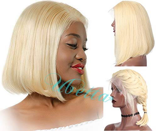 Blonde 613 Short Bob Wig Human Hair 13x6 Deep Part Lace Front Brazilian Virgin Straight Human Hair Wig Pre Plucked with Baby Hair for Black Women 150% Density Colored Bob Wig Bleached Knots 12 Inch