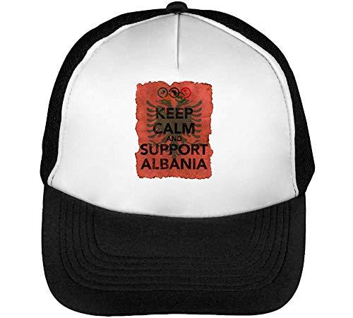 Vintage Keep Calm Support Albania Gorras Hombre Snapback Beisbol Negro Blanco