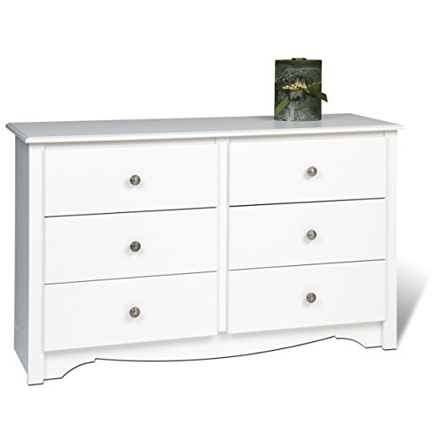 White Transitional Compact Sized 6-Drawer Dresser with Scalloped Base Panel and Pewter Pull out Knobs by Generic