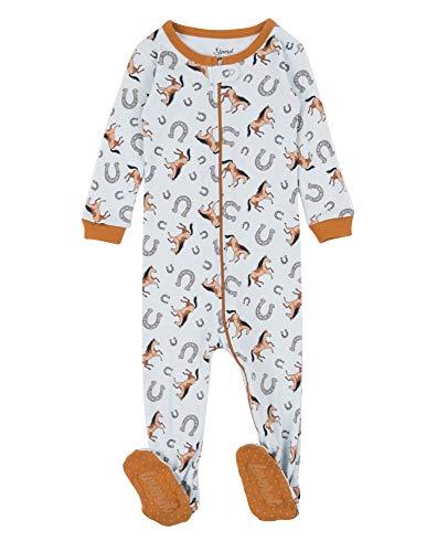 (Leveret Kids Pajamas Baby Boys Girls Footed Pajamas Sleeper 100% Cotton (Horse, Size 6-12)