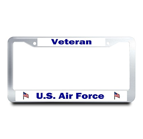 Nuoyizo U.S. Air Force Veteran Stainless Steel License Plate Frame American Flag License Plate Cover Fluorescence Auto Tag Holder Patriots Metal Car Tag Holder With Two Chrome Screws Caps