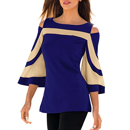 Womens 2018 Spring Fashion Patchwork Cold Shoulder Blouse Tops Bell Sleeve Shirts (Blue, S) (Spring Usp)