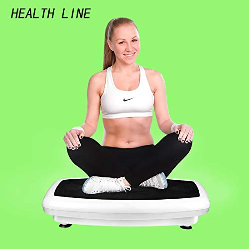 HEALTH LINE MASSAGE PRODUCTS 330LB Vibration Plate Exercise Machine Whole Body Workout Vibration Fitness Platform Home Training Equipment with Two Bands and Remote for Weight Loss & Toning (Best Workout For Whole Body Toning)