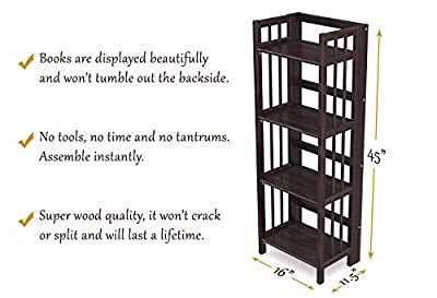 Stony-Edge Folding Bookcase, Easy Assembly Bookshelf for Home Office Storage