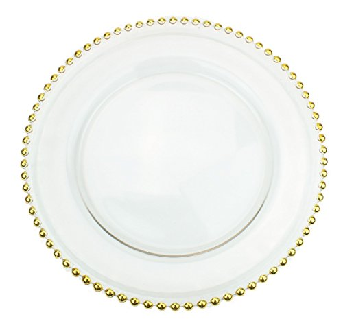 Clear Glass Charger 12.6 Inch Dinner Plate With Beaded Rim - Set of 4 - Gold (Sets Dinnerware Clear Glass)
