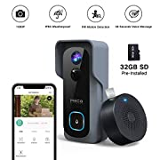 #LightningDeal ?32GB Preinstalled?WiFi Video Doorbell?MECO 1080P Doorbell Camera with Free Chime, Wireless Doorbell with Motion Detector, Night Vision, IP65 Waterproof, 166°Wide Angle, 2 Way Audio, 2.4GHz WiFi