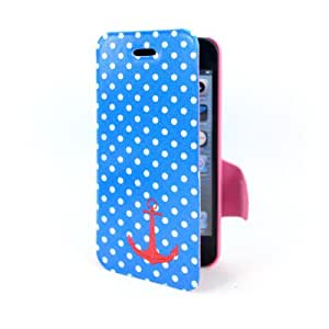 iPhone 5C Case Navy Sailor Anchor Style polka Dot Pattern PU Leather Wallet Cover with Stand